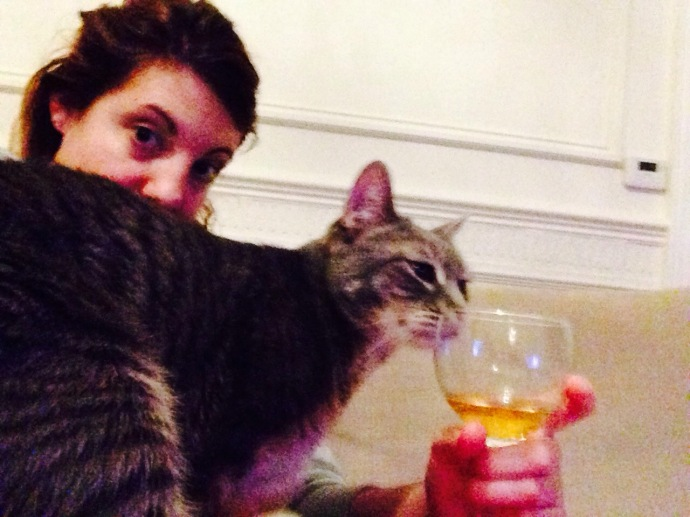 having a beer with the cat